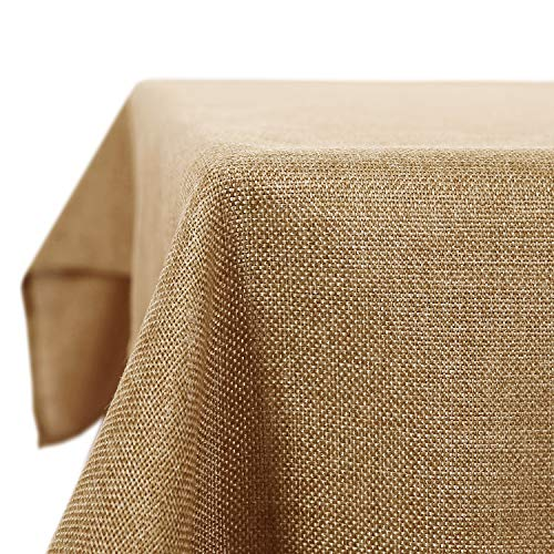 Deconovo Leinenoptik Tischdecke Wasserabweisend Tischdecke Lotuseffekt Tischtuch 130x130 cm Hell Ockerbraun