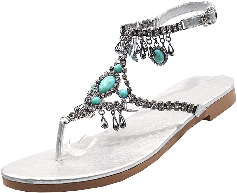 Artfaerie Womens Bead Bohemian Flat Thong Toe Beach Sandals T-Strap Gladiator Summer shoes