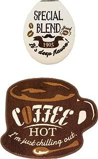 オカトー Cozydoors トイレフタカバー、マットセット U・O型タイプ (Hot Coffee)
