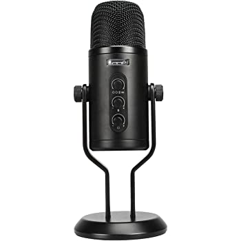 Amazon Basics Professional USB Condenser Microphone with Volume Control and OLED Screen - Black