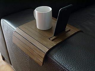 Mini tavolino laterale da bracciolo divano in legno con stand iphone e kindle paperwhite personalizzabile noce scuro Picco...
