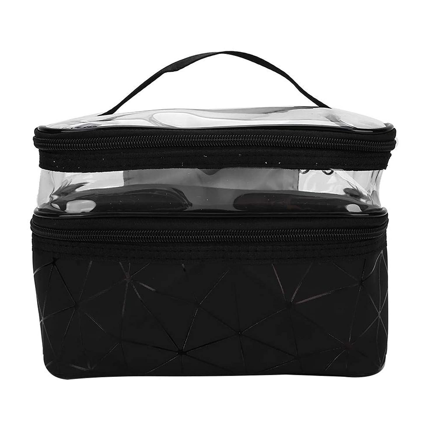 コンテスト比類なき裕福な収納袋Mulifunctional化粧ケース2層ポータブル化粧バッグトイレタリー収納オーガナイザー(黒)