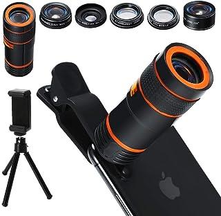 Kit de lentes para cámara de teléfono celular 6 en 1 lente zoom telefoto 12x gran angular y macro ojo de pez a 235 ° Starburst lente CPL + soporte para teléfono y trípode para iPhone Android