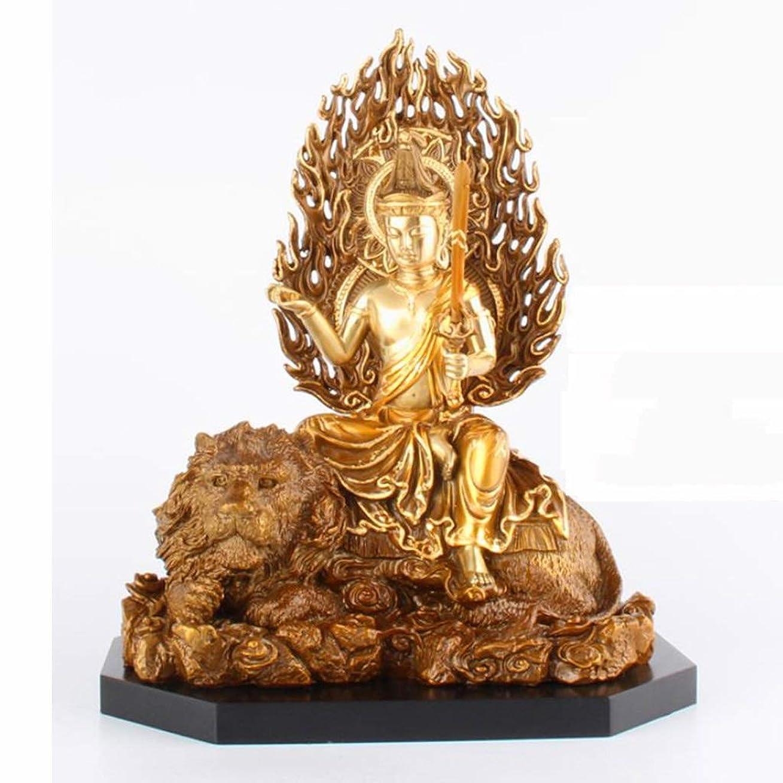 ハチ酸っぱいグロー純粋な銅仏像、Manjushri像、絶妙な技量、耐久性、きれいにするのは簡単、完璧な家の贈り物、18×12×23 LIUXIN