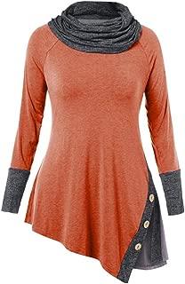 Women's Autumn Retro Fashion Casual high Collar Stitching Button Long Sleeve Irregular Hem top