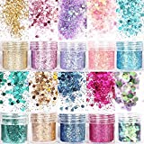 10 Sets Holographic Body Glitter Sequins,Hair Glitter for Festive Makeup, Mermaid Chunky Glitter for Eyes, Hair, Body,Nail (10 Color)