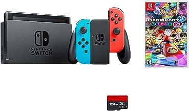 Nintendo Switch 5 items Bundle:Nintendo Switch 32GB Console Neon Red and Blue Joy-con,128 GB Micro SD Card,Mario Kart 8 De...
