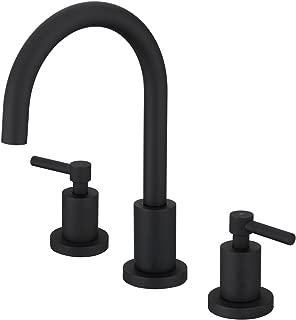 Bathroom Basin Sink Faucet 3 Holes Two Handles Deck Mount Vessel Mixer Taps (Matte Black)