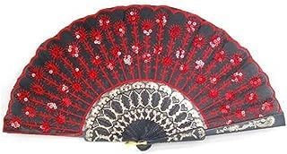 Demarkt Vintage Handfächer Hand Fan Handfächer Fächer Klappfächer Sommer Feste Party Hochzeit Hand Fan Hochzeitfächer aus Kunststoff Rot