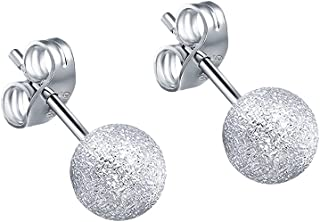 AoedeJ Sterling Silver Matte Ball Earrings Tiny Cute Ball Earrings Small Piercing stud for Man and Women