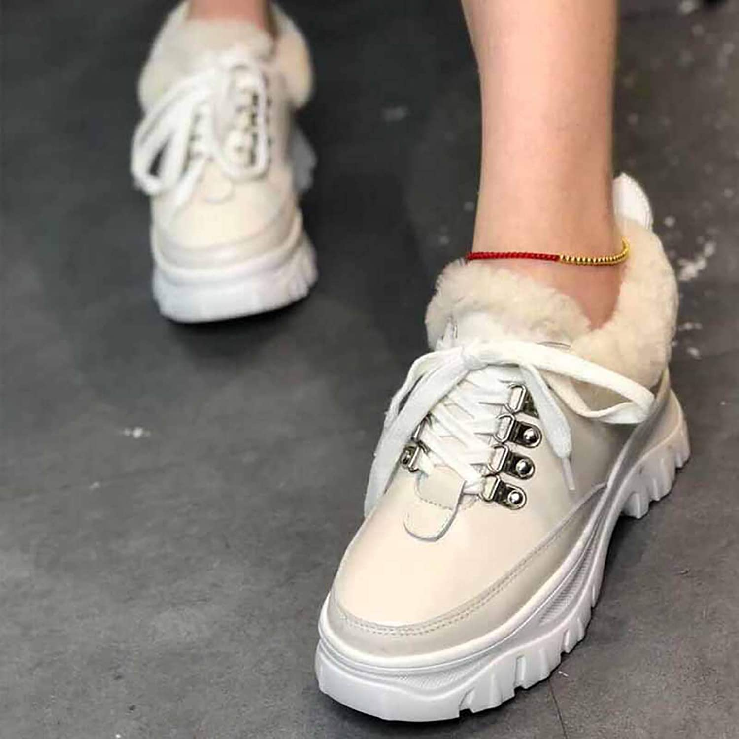 Winter Warm Hair White shoes, Leather Thick-Brimmed Casual Laced Plus Velvet shoes,White,38