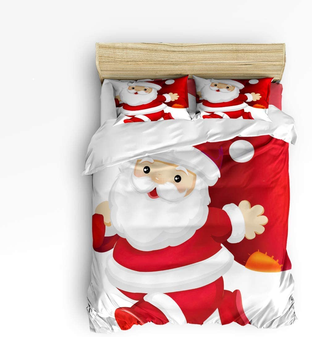 Duvet 67% OFF of fixed price Cover Set with Challenge the lowest price Zipper Closure Cute Santa 3 Claus Carrying