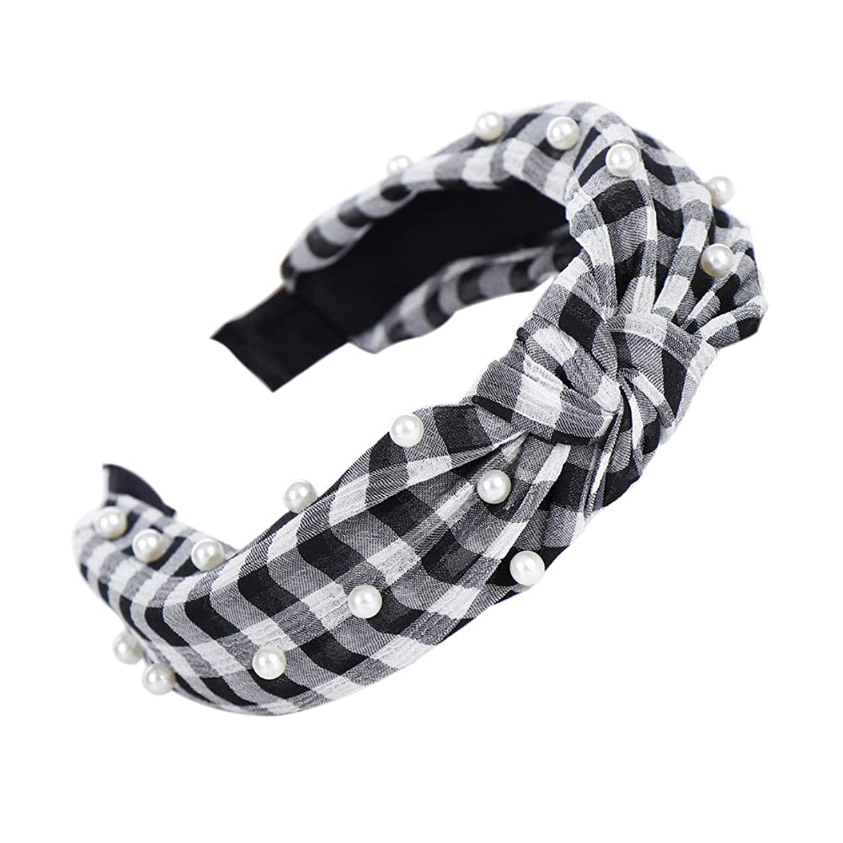 Colorido Plaid Stripe Headband Faux Pearl Knotted Hair Hoop Headwear Cotton Band for Women Girls