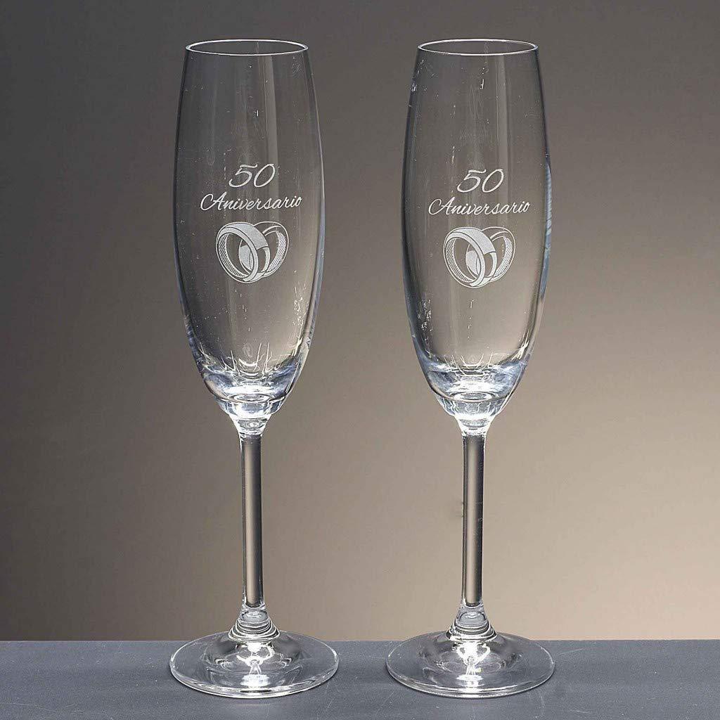 la galaica - Set de 2 Copas de Cristal de Champán Cava y Espumoso | Regalo para
