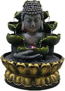 Indoor Fountains Creative Home Decorations Resin Flowing Water Waterfall LED Fountain Buddha Statue Lucky Feng Shui Ornaments Landscape Decor
