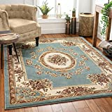 Well Woven Timeless Le Petit Palais Traditional Medallion Light Blue Area Rug 6'7' x 9'3'