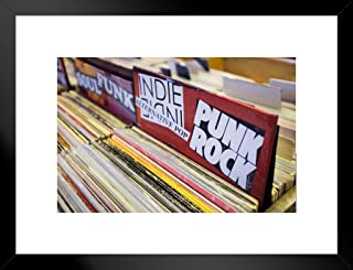 Poster Foundry Punk Rock Records Vinyl for Sale in Music Store Photo Art Print Matted Framed Wall Art 26x20 inch