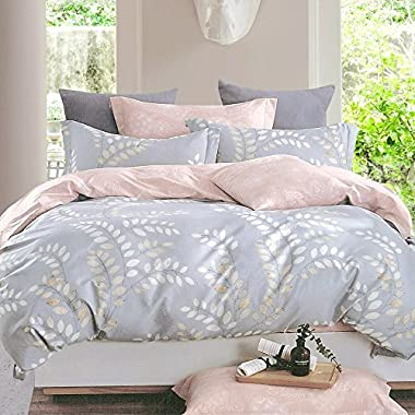 Essina King Duvet Cover 3pc Rosetta Collection, 100% Cotton 620 thread count, Reversible Duvet Cover, Pillow Sham, Agoda