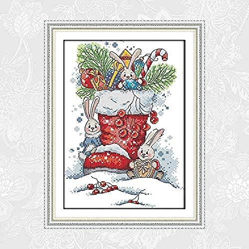 Kits de punto de cruz contado Conejito con Botas de Navidad 16x20 pulgadas Adecuado para principiantes adultos, niños Kits Estampados de 11CT punto de cruz,Para decoración de salón