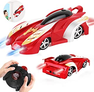WISHTIME Remote Control Car - Wall Climbing RC Car Defy Gravity Stunt Car Dual Mode 360 Degrees Rotating Vehicle Toy with LED Lights for Kids Toddlers Boy and Girl(Red)