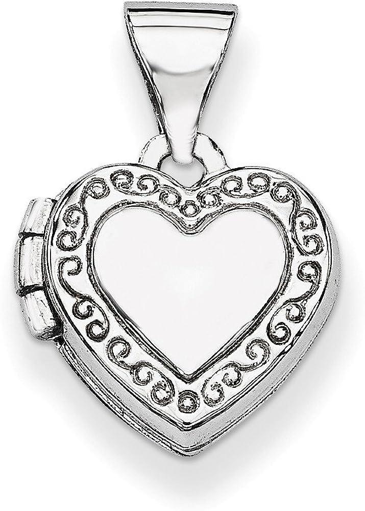 14K White Gold Polished Heart Shaped Scrolled Locket Pendant