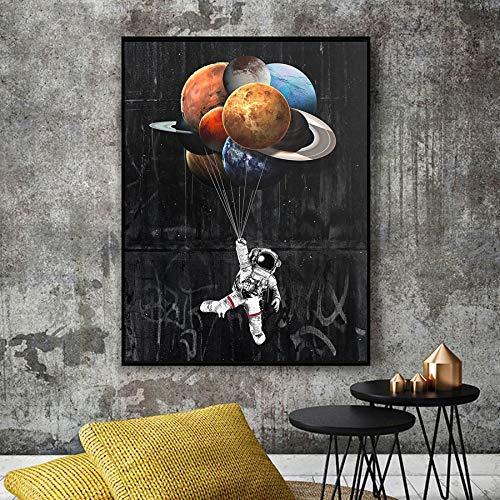 HGlSG Astronaut Ruimte Dromen Canvas Afdrukken Schilderijen Zonnestelsel Planeten en manen Behang Posters Ruimtewetenschap Thuis Muur Foto om in te leven A4 70X100cm