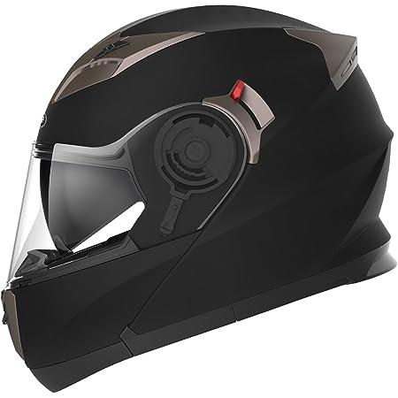 Motorcycle Modular Full Face Helmet DOT Approved - YEMA YM-925 Motorbike Casco Moto Moped Street Bike Racing Helmet with Sun Visor Bluetooth Space for Adult,Youth Men and Women - Matte Black,L