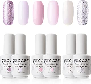 Gellen Gel Colors Nail Polish Set - Baby Pinks Series Pure And Glitters Nail Art Manicure Pedicure Kit