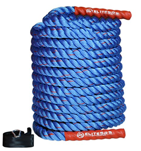 EliteSRS 30ft Battle Rope Kit 1.5' Fitness Workout - Sleeve - Anchor Straps (Blue/Red)