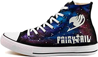 Fairy Tail High Top Canvas Shoes Anime Fans Luminous Hand Painted Sneakers