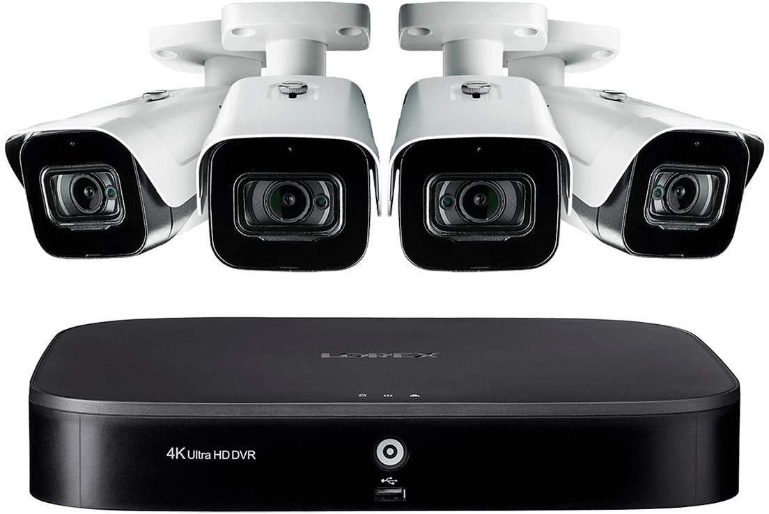 Lorex 4KMPX44, 4 Channel Security System with 4 Metal Audio Cameras