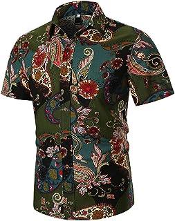 Men Shirt Short Sleeve Youth Fashion Print Shirt Hawaii Beach Flower Shirt