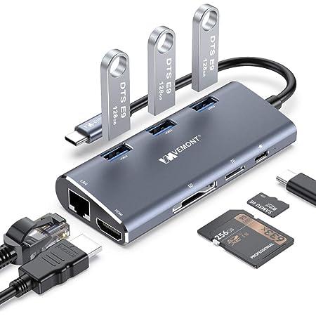 VEMONT USB C Hub Adaptador multipuerto, 8 en 1 Tipo C a 4K @30HZ HDMI, Gigabit Ethernet RJ45,3 USB 3.0,100W PD, SD/TF, Compatible para MacBook Air/Pro, XPS, Chromebook, Más Tipo C Dispositivos
