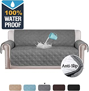 H.VERSAILTEX 100% Waterproof Sofa Slipcovers for Three Cushion Sofas Slip Resistant Furniture Protector, Quilted Couch Covers for Sofa, Couch Slip Cover for Pets, Kids, Cats (Sofa Large: Grey)
