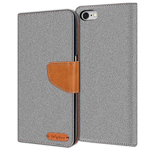 Verco iPhone 6S Hülle, Schutzhülle für Apple iPhone 6 Tasche Denim Textil Book Hülle Flip Hülle - Klapphülle Grau