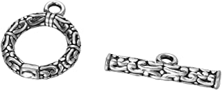 HOUSWEETY 1 Set Sterling Silver Toggle Clasp for Necklace/Jewelry Making