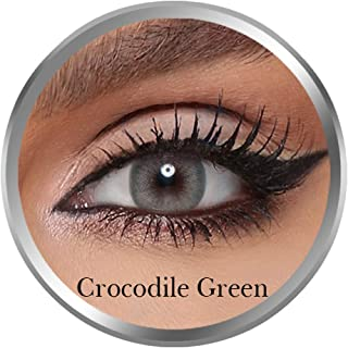 Amara Crocodile Green Contact Lenses, Original Unisex Amara Cosmetic Contact Lenses, Monthly Disposable, Crocodile Green C...