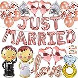 TaimeiMao Juego de globos de boda, pareja de novios, globos de amor, globos de confeti, globos de boda, para pedidas de matrimonio, compromiso o regalo de boda