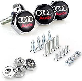 License Plate Frame Screw Bolts - Logo Cap Cover Metal Screw Bolts Nuts Anti-Theft Universal Car Truck Accessories fit for Audi 4PCS/Set