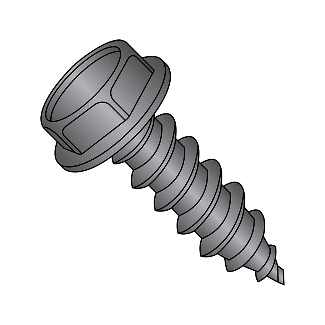 Steel Sheet Metal Screw, Black Oxide Finish,  Hex Washer Head, Hex Drive, Type AB, #10-16 Thread Size, 3/4