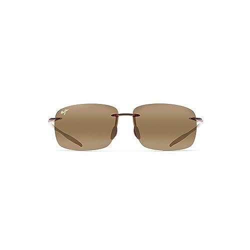 26c3c53f6cf Maui Jim Breakwall 422-02 Polarized Gloss Black Rimless Frame Sunglasses