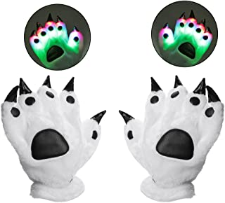 Luwint LED Finger Flashing Bear Paw Gloves Novelty Lights Up Glow Blink Show Prop Toy for Werewolf Cat Monster Costume