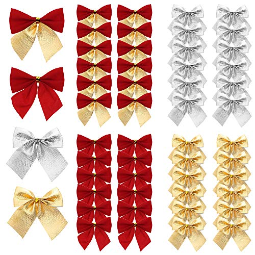 UBERMing 48 Pieces Christmas Ribbon Bows Ornaments Mini Christmas Tree Bows 6cm Ribbon Bows Ornaments for Christmas Tree Hanging Decoration - Red/Gold/Silver