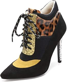 Ankle Boots 347-9 Women's Pointed Toe Lace Up Ankle Booties Stiletto Zipper Fashion Sneaker Booties