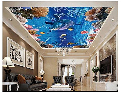 Mznm Fototapete, 3D-Deckenbilder, Unterwasserwelt, Delfine, Fischgruppe, Ozean, Decke, Wanddekoration 280x200cm