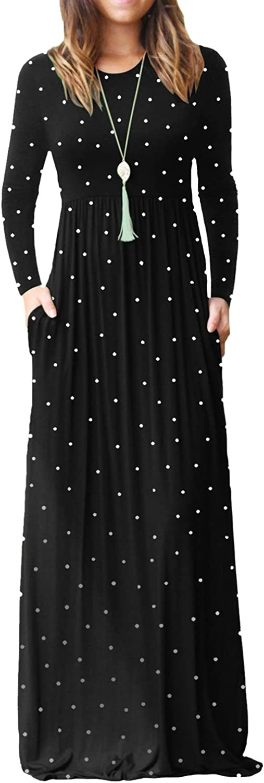 ReoRia Women's Long Sleeve Loose Polka Dot Maxi Dresses Casual Long Dresses with Pockets
