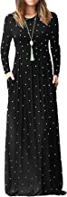 ReoRia Women's Long Sleeve Polka Dot Loose Plain Maxi Dresses Casual Long Dresses with Pockets