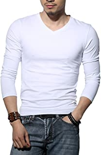 Men's Tagless Slim Fit Top Muscle Cotton V-Neck Long Sleeve Undershirts T-Shirts