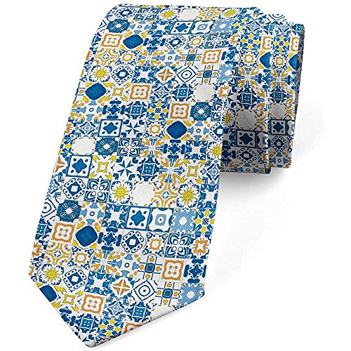 Mathillda Krawatte, Mosaik Azulejo, Abendgarderobe, violetter blauer Senf Perfekte Geschenke für Mode-Krawatte