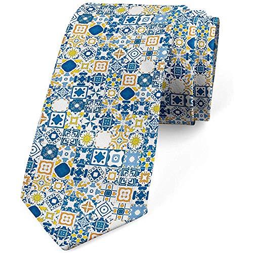 Mathillda Corbata, mosaico Azulejo, corbata de vestir, mostaza azul violeta Regalos perfectos para corbata de moda
